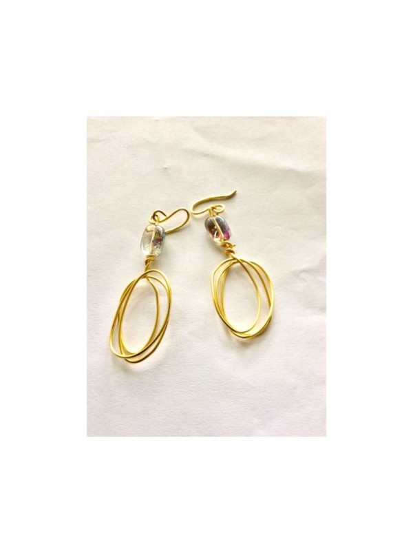 Brass Oval Earrings with Iridescent Bead Accent