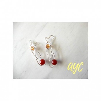 Silver Artisan Earrings With Carnelian and Crystal Accent