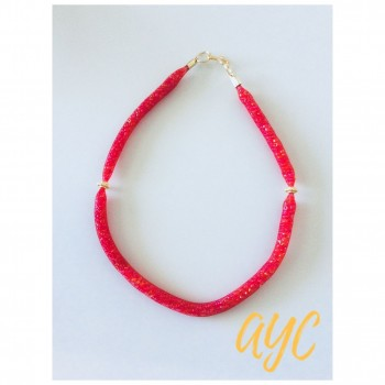Necklace Red Mesh With Seed Bead And Gold Accent