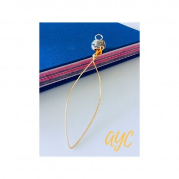 Brass Wire Handmade Bookmark With Glass Bead Accent