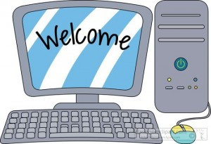 welcome text displayed on cartoon computer desktop, fashion fall colors 2020