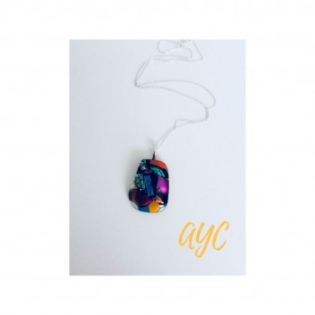 Dichroic Glass Small Pendant With Chain