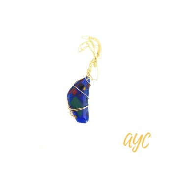 Fused Glass Blue Pendant With Wire Accent and Chain