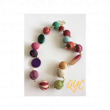 Necklace With Colorful Textile And Gemstone