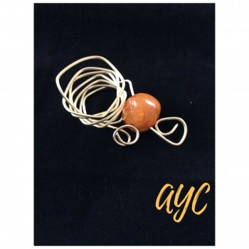 Silver Wire Scarf Slide With Gold And Orange Bead Accent