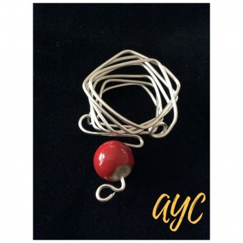 Wire Silver Slide Scarf Jewelry With Red Ceramic Bead Accent