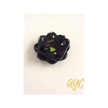 3 black fused glass sushi dishes in 2 sizes