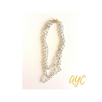 Brass Chain Necklace With Pale Blue Crystal Beads