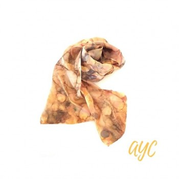 Hand Painted Silk Scarf In Autumn Gold