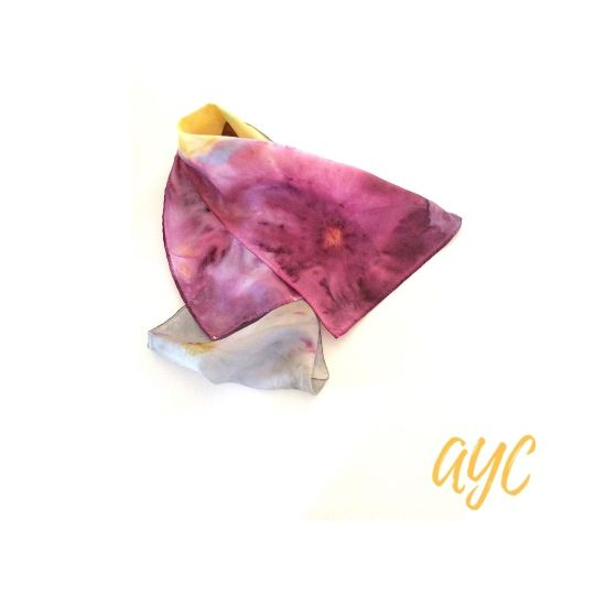 Silk Scarf In Multi Colors Of Berry, Yellow and Gray