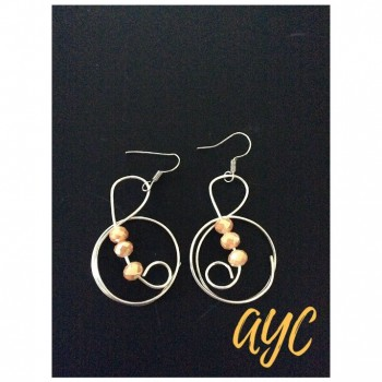 Silver Wire Art Earrings With Crystal Adornment