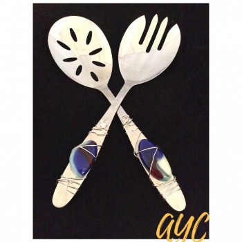 Stainless Steel Salad Set With Fused Glass, Blue Beads and Wire Art