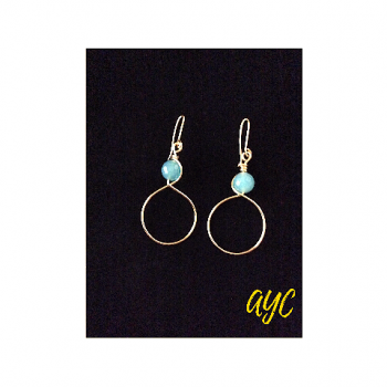 Brass Hoop Earrings With Aquamarine Accent