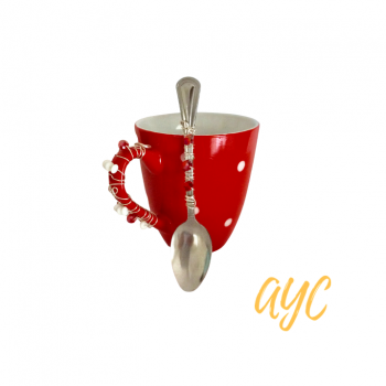 Coffee Mug In Bright Red With Beaded Handle and Spoon