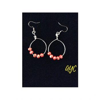 Silver Hoop Earrings With Deep Coral Crystal