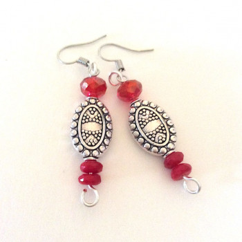Silver Eval Etched Earrings With Red Crystal Accent