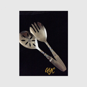 Stainless Steel Salad Set With Wire Art and Swarovski Crystal