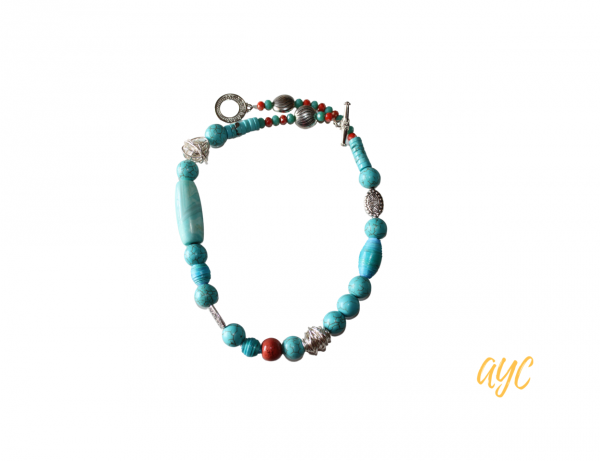 Turquoise Necklace With Coral Accents and Wire Art Beads