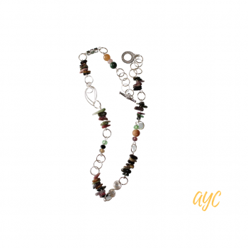 Wire Artisan Necklace With Tourmaline and Gemstone Accent