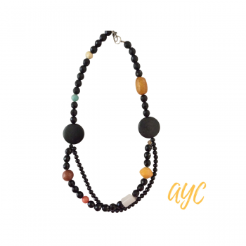 Beaded Black Necklace With Wood Disks and Gemstones, Sunstone, Agate, Carnelian, Textile
