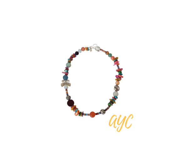 Beaded Boho Red Coral Multi Color Necklace With Gemstones, Turquoise, Carnelian, and Silver Accent