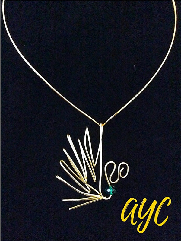 Brass 3D Wire Art Pendant With Brass Collar and Crystal Accent