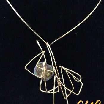 Brass 3D Wire Art Necklace With Brass Collar and Glass Bead Accent Accent