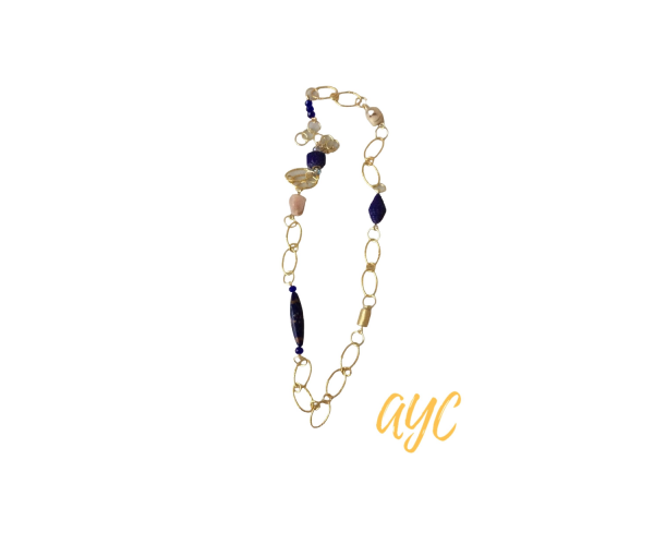 Brass Oval Non Tarnish Chain With Textile Beads, Crystal, Quartz, and Murano Glass