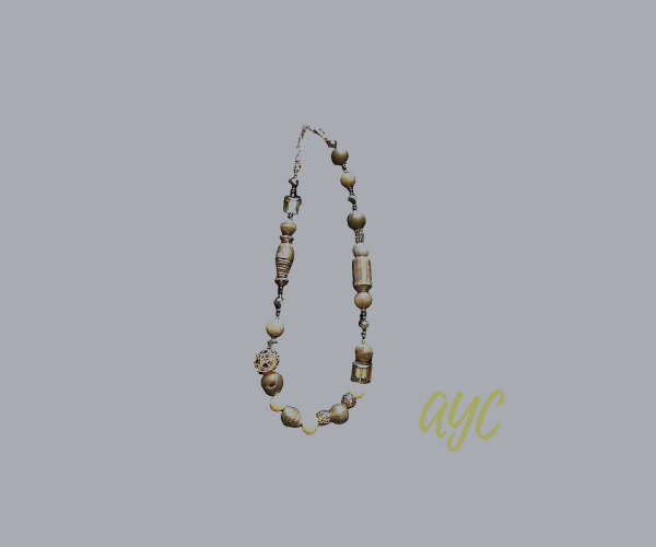 Wire Art Gold Tones Necklace With Textile Beads