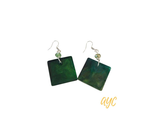 Green Resin Swirl Earrings With Crystal Accent