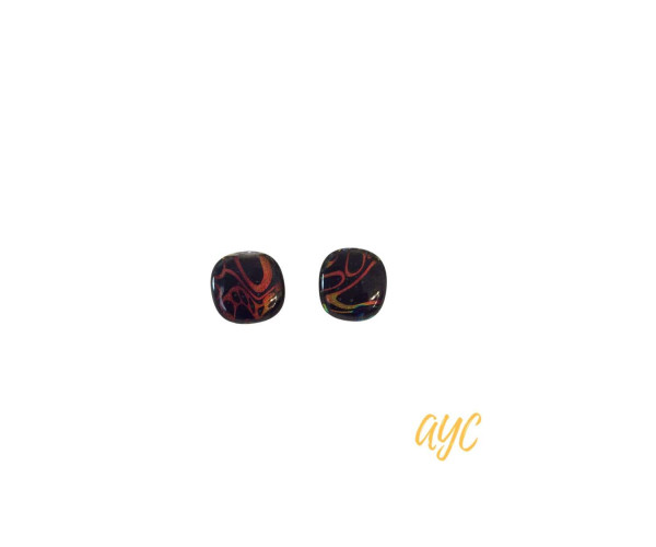 Dichroic Glass Black and Brown Swirl Earrings