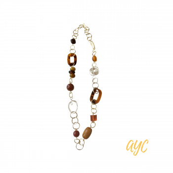 Wire Art Necklace and Tortoise Resin With Carnelian Accent