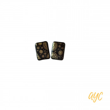 Black Dichroic Glass Earrings With Gold Timely Accents
