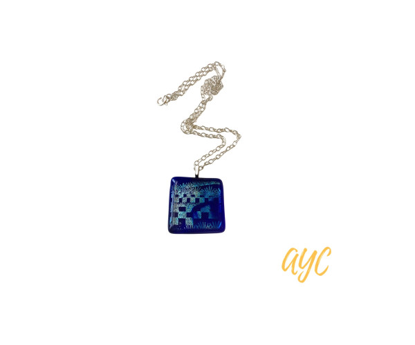 Dichroic Glass Pendant In Shades of Blue and Silver