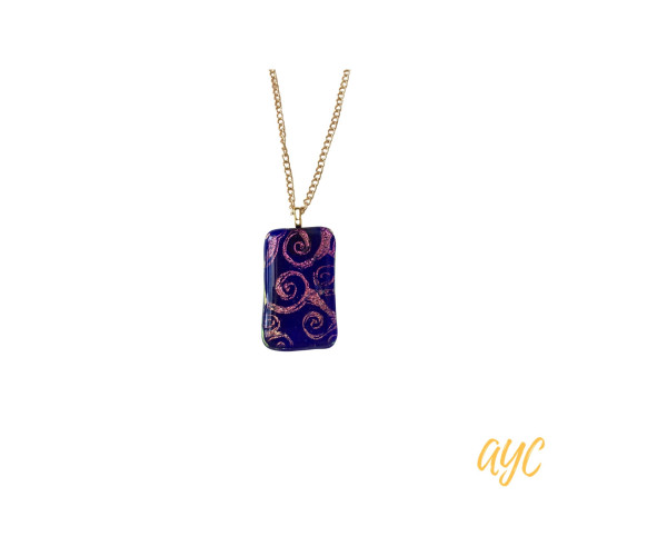 Dichroic Glass Pendant With a Purple Background With Silver Chain