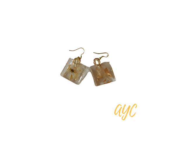 Clear Textile Earrings With Nature Accents