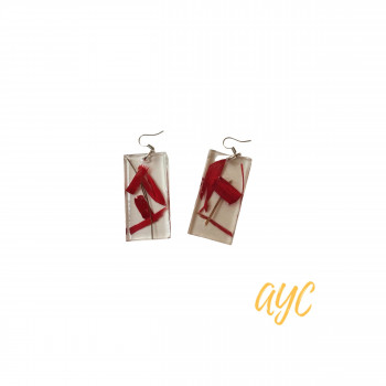 Clear Textile Earrings With Red Accents From Nature