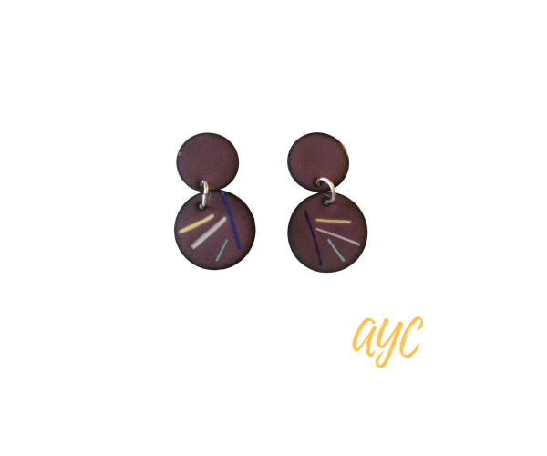 Double drop orchid enamel earrings with soft color accents