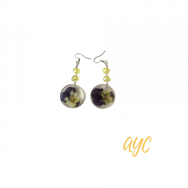 Resin Disc Earrings With Yellow and Purple Flowers