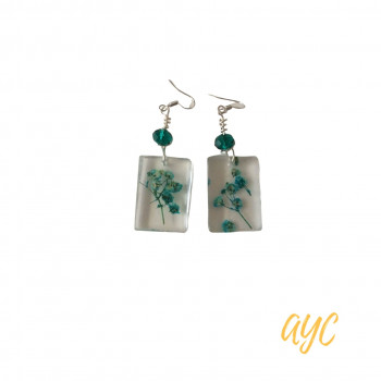 Resin Rectangle Earrings With Aqua Baby's Breath