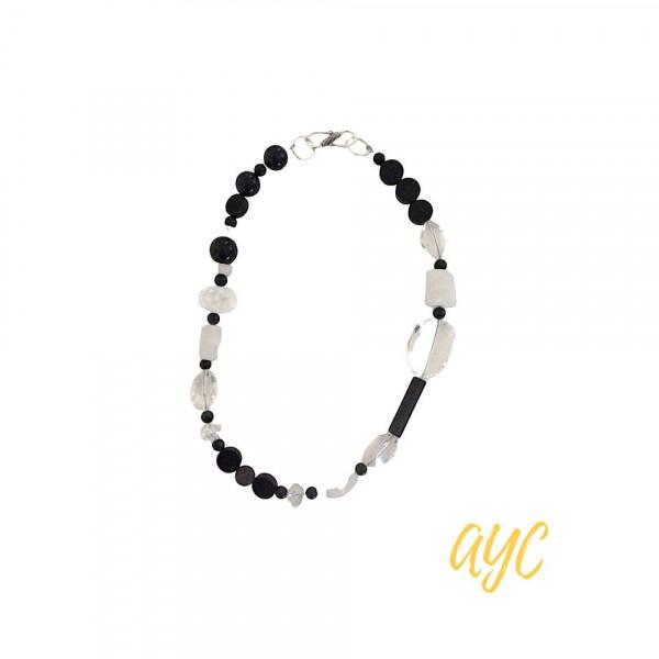 Black and White Crystal Gemstone Choker Necklace