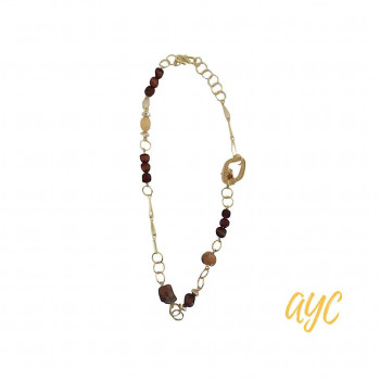 Brass Wire Art Necklace With Warm Brown and Tan Textile Accents | AYC