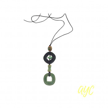 Green Textile Pendant and Bead Adjustable Necklace